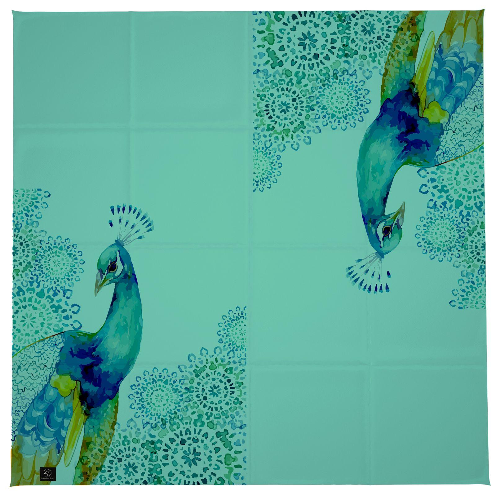 روسری زنانه 27 طرح طاووس کد H04 -  - 7