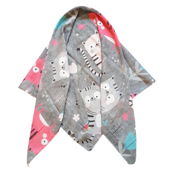 روسری دخترانه ترمه گالری مدل گربه کد san_022