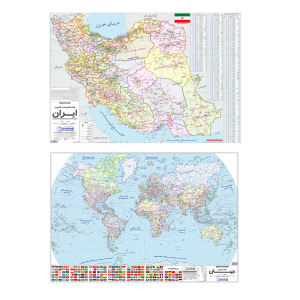نقشه ایران و جهان گیتاشناسی نوین مدل pol-1 مجموعه دو عددی