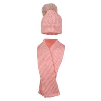ست کلاه و شال گردن بافتنی دخترانه مدل KS-06