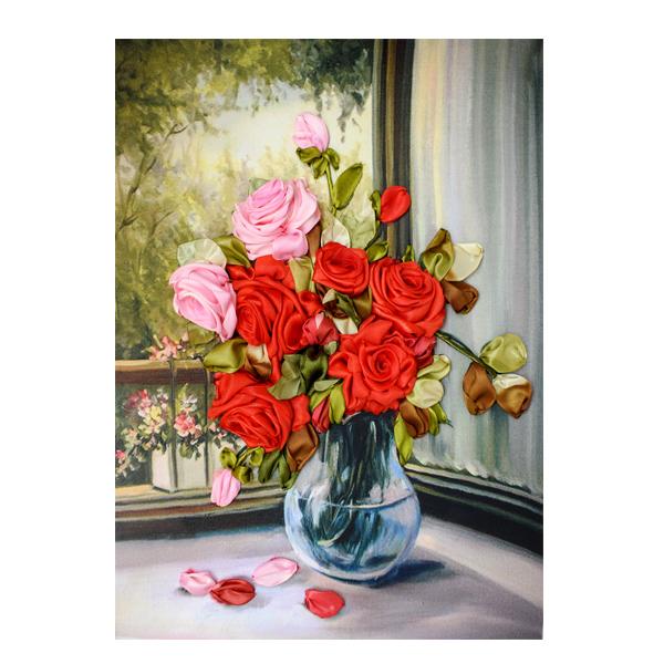 تابلو روبان دوزی مدل گلدان رز