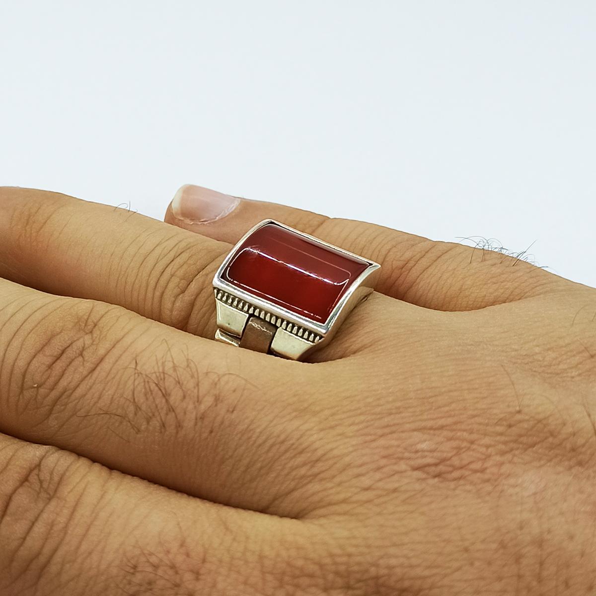 انگشتر نقره مردانه سلین کالا مدل عقیق ce-As125