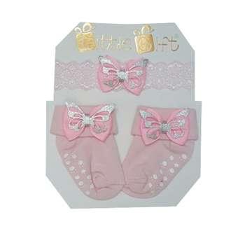 ست هدبند و جوراب نوزادی مدل پروانه رنگ صورتی