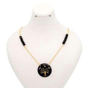 گردنبند طلا 24 عیار زنانه طرح درخت و پروانه کد 300003
