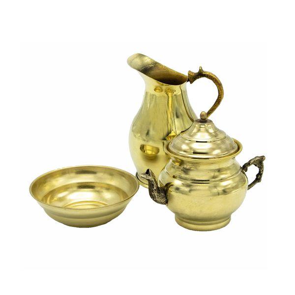 سرویس چای خوری 3 پارچه مدل برنجی کد 24741