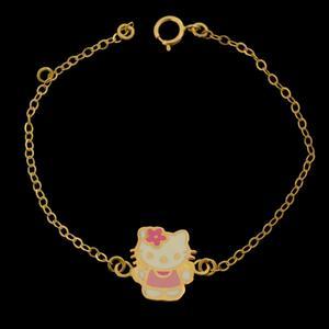 دستبند طلا 18 عیار دخترانهطلای مستجابی مدل عروسکی کد 67063