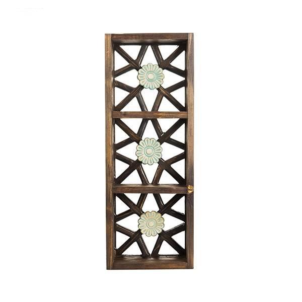 طبقه دیواری چوبی طرح گل کد 66037