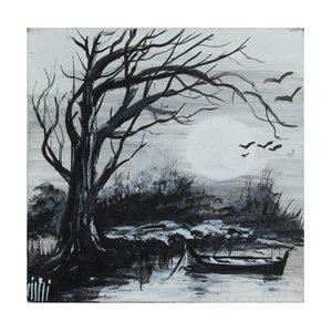 تابلو نقاشی رنگ روغن مدل درخت خشکیده کد TBZ06