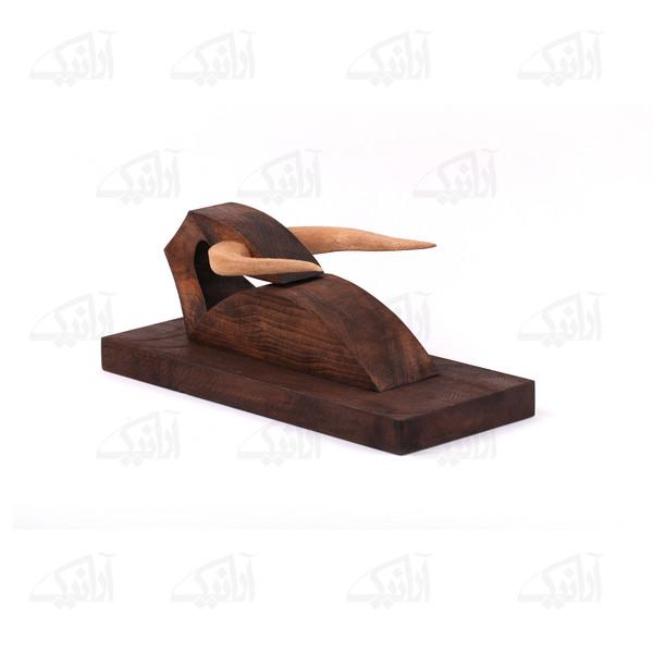 مجسمه چوبی  رنگ قهوه ای طرح گاو  مدل 1105900024