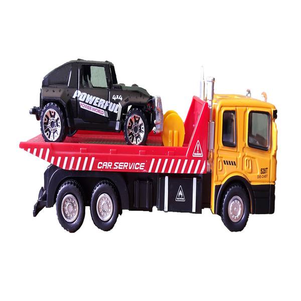 ماشین بازی شوانگ دی مدل  کامیون یدکش مجموعه 2 عددی