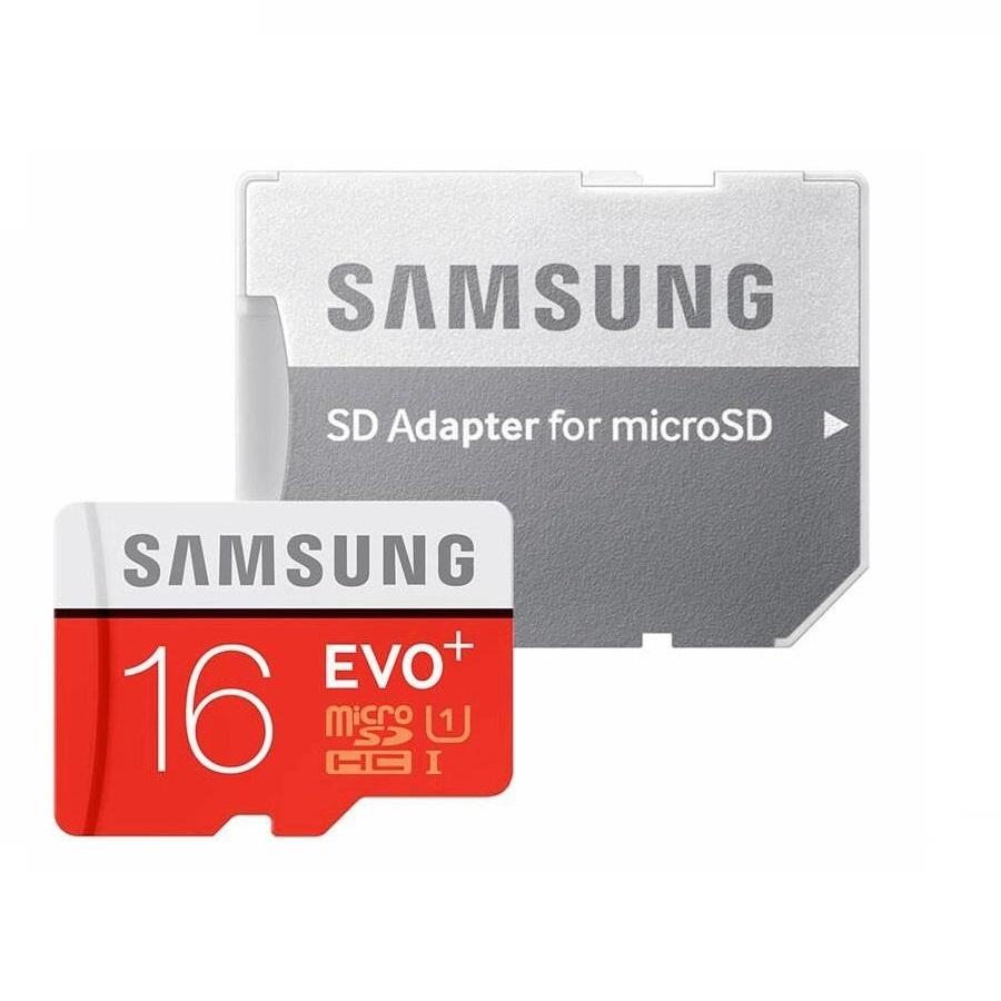 کارت حافظه microSDXC  مدل Evo Plus کلاس 10 استاندارد UHS-I U1 سرعت 80MBps  ظرفیت16 گیگابایت همراه با آداپتور SD                     غیر اصل