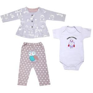 ست 3 تکه لباس نوزادی دخترانه کد 3086