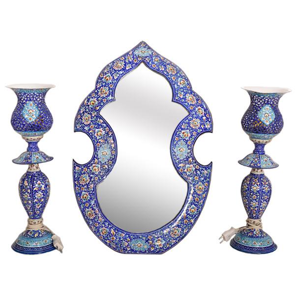 ست 3 تکه آینه و شمعدان میناکاری کد 577