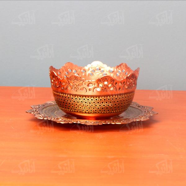 کاسه بشقاب مس و خاتم    رنگ طلایی  طرح مشبک  مدل 1003600007