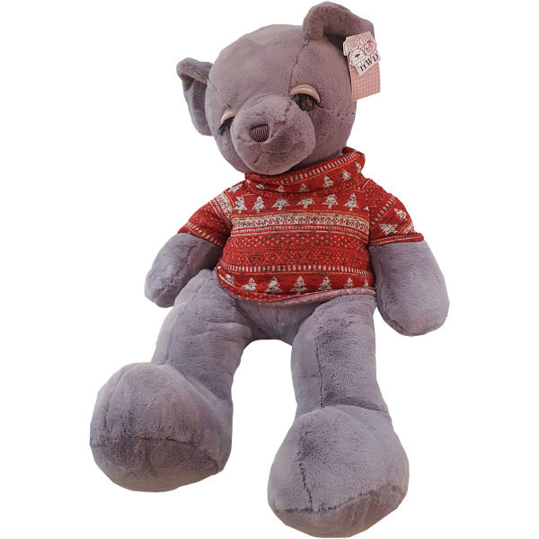 عروسک اچ دبلیو دی طرح خرس لباس زمستانی ارتفاع ۹۰ سانتی متر
