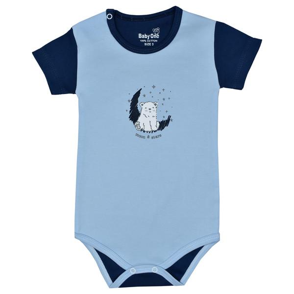 بادی آستین کوتاه نوزادی بی بی وان مدل خرس قطبی کد 1