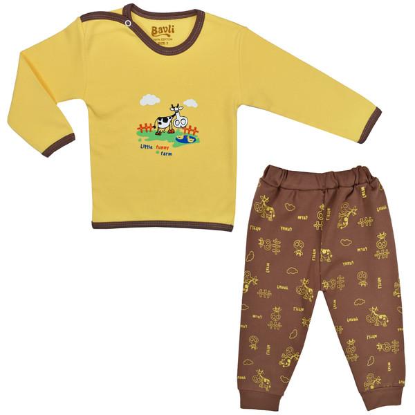 ست تی شرت و شلوار نوزادی باولی مدل گاو کد 2