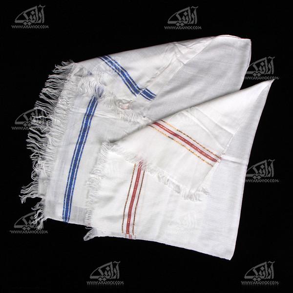 حوله دست و صورت آرانیک پنبه ای دستباف رنگ سفید طرح یاس مدل 1714000011