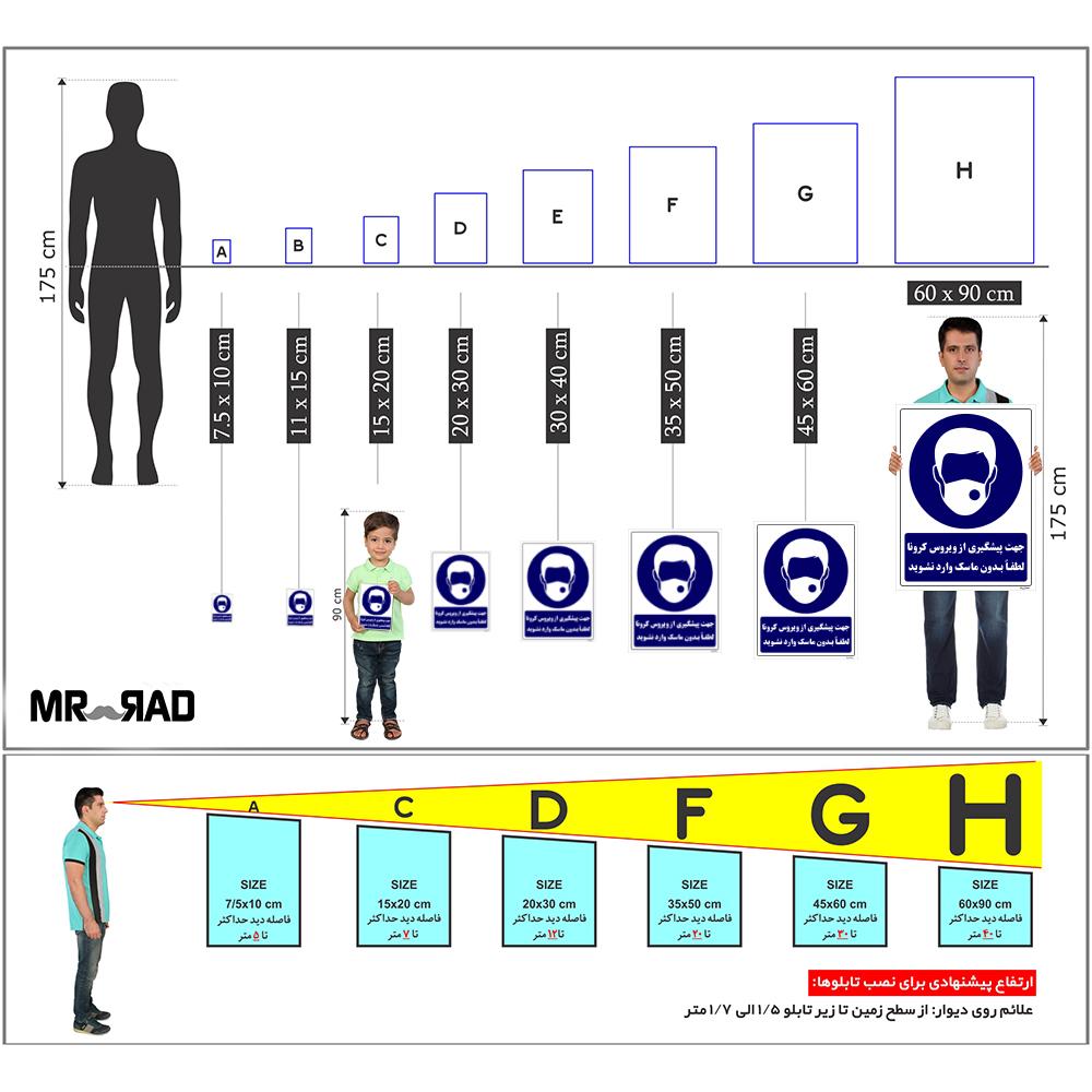 برچسب ایمنی FG طرح جهت پیشگیری از ویروس کرونا لطفا بدون ماسک وارد نشوید کد HSE06 بسته 2 عددی