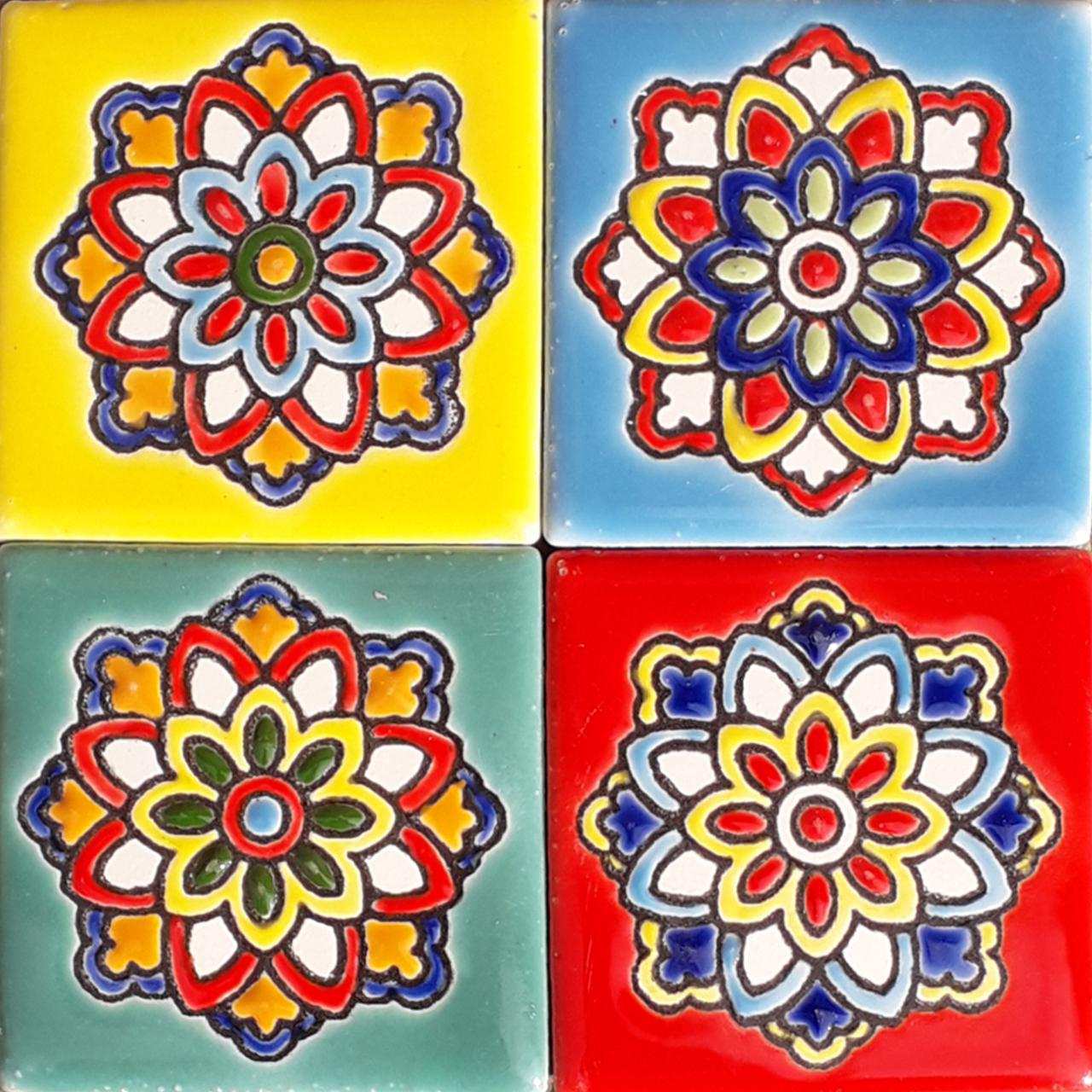 مگنت طرح گل کاشی کد 0246 مجموعه 4 عددی