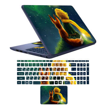 استیکر لپ تاپ طرح شازده کوچولو کد 02 مناسب برای لپ تاپ 17 اینچی به همراه برچسب حروف فارسی کیبورد