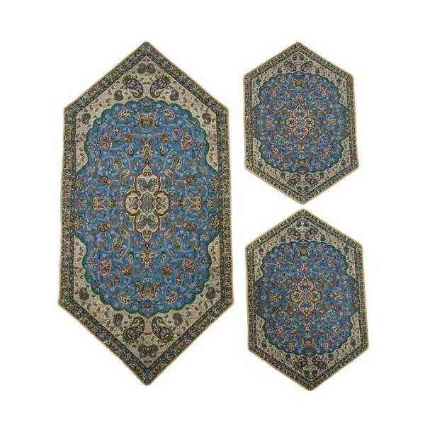 ست 3 تکه رومیزی ترمه حسینی طرح سپهسالار کد 139
