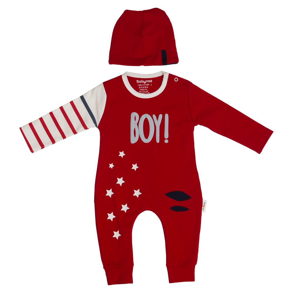 ست سرهمی و کلاه نوزادی پسرانه بی بی ناز طرح BOY مدل 1002