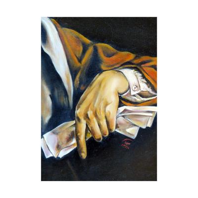 تابلو نقاشی رنگ روغن مدل بانوی نامه در دست کد 08