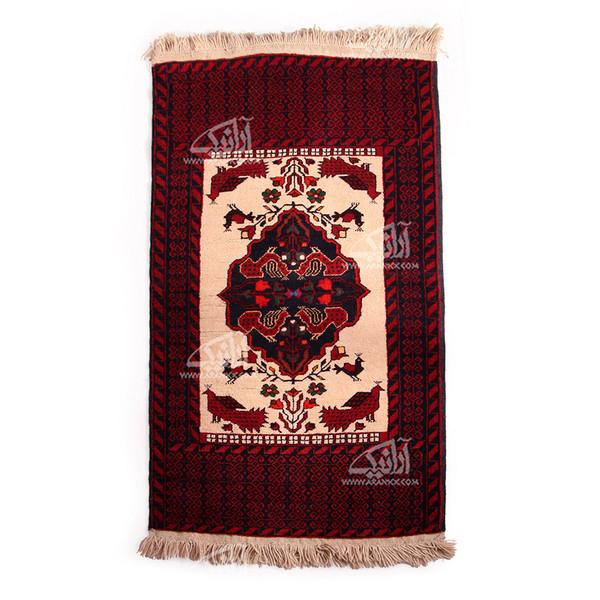 قالیچه دستباف  زرع و نیم طرح ترنج و پرنده بافت بیرجند مدل 1414300001