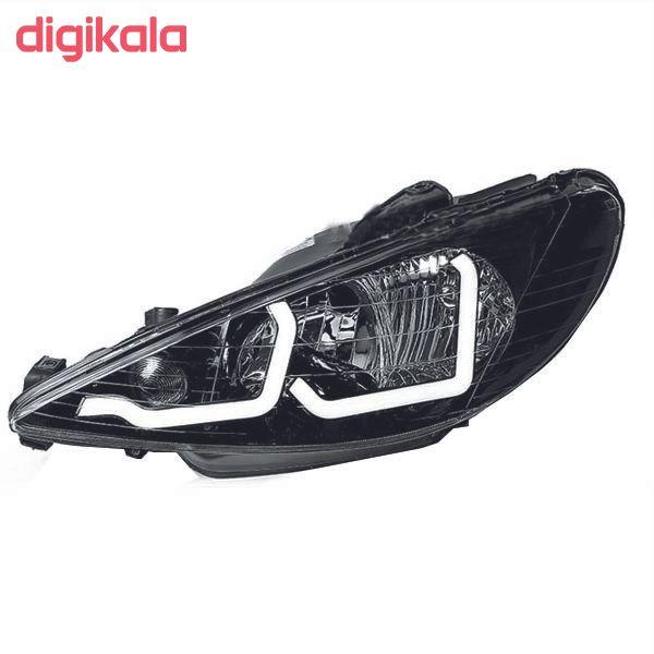 چراغ جلو خودرو مدل pe-001 مناسب برای پژو 206 بسته 2 عددی main 1 1