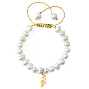 دستبند طلا 18 عیار دخترانه کرابو طرح برگ مدل Krd1019