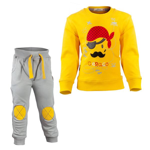 ست سویشرت و شلوار پسرانه طرح دزد دریایی کد 22 رنگ زرد