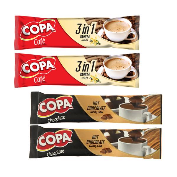 قهوه فوری وانیلی و هات چاکلت کوپا مجموعه 4 عددی