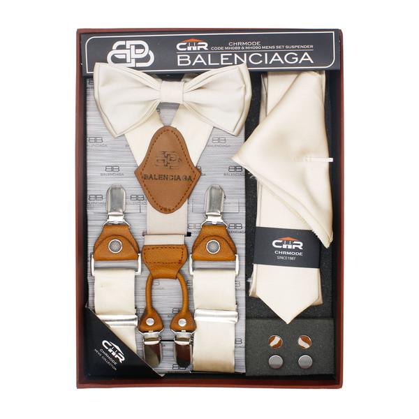 ست کراوات و پاپیون و ساسبند طرح دار مردانه سی اچ آر  کد MH090CM