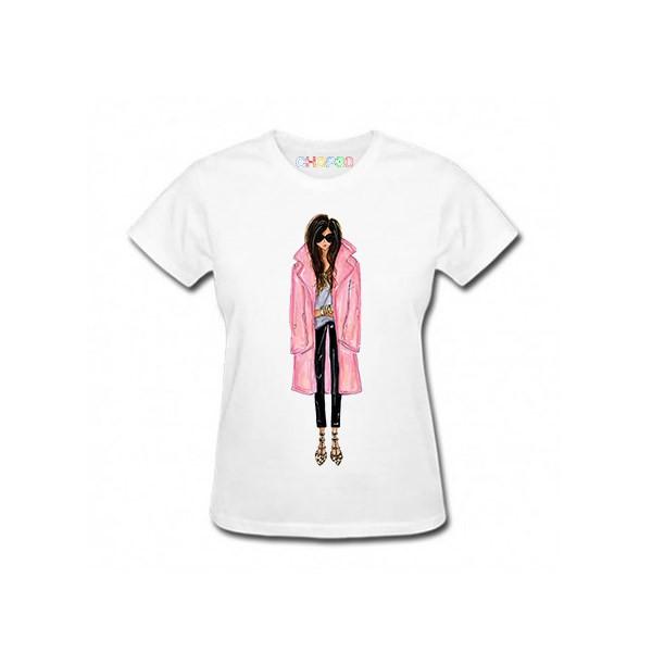 تی شرت آستین کوتاه زنانه چاپ سی مدلAT کد 02