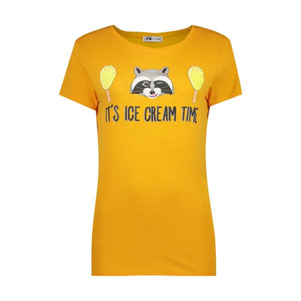 تی شرت زنانه اف بی سیستر طرح راکون کد fb-90528 رنگ نارنجی