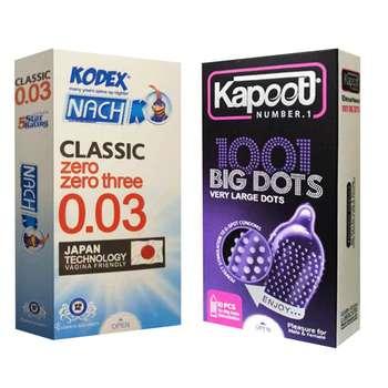 کاندوم کاپوت مدل BIG DOTS بسته 10 عددی به همراه کاندوم ناچ کدکس مدل 03 بسته 12 عددی