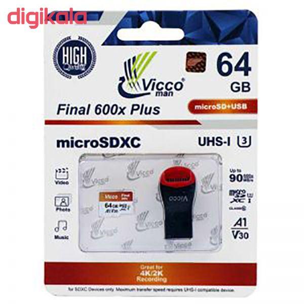 کارت حافظه micro SDXC ویکومن مدل 600X Plus کلاس 10 استاندارد UHS-I U3 سرعت 90MBs ظرفیت 64 گیگابایت به همراه کارت خوان main 1 1