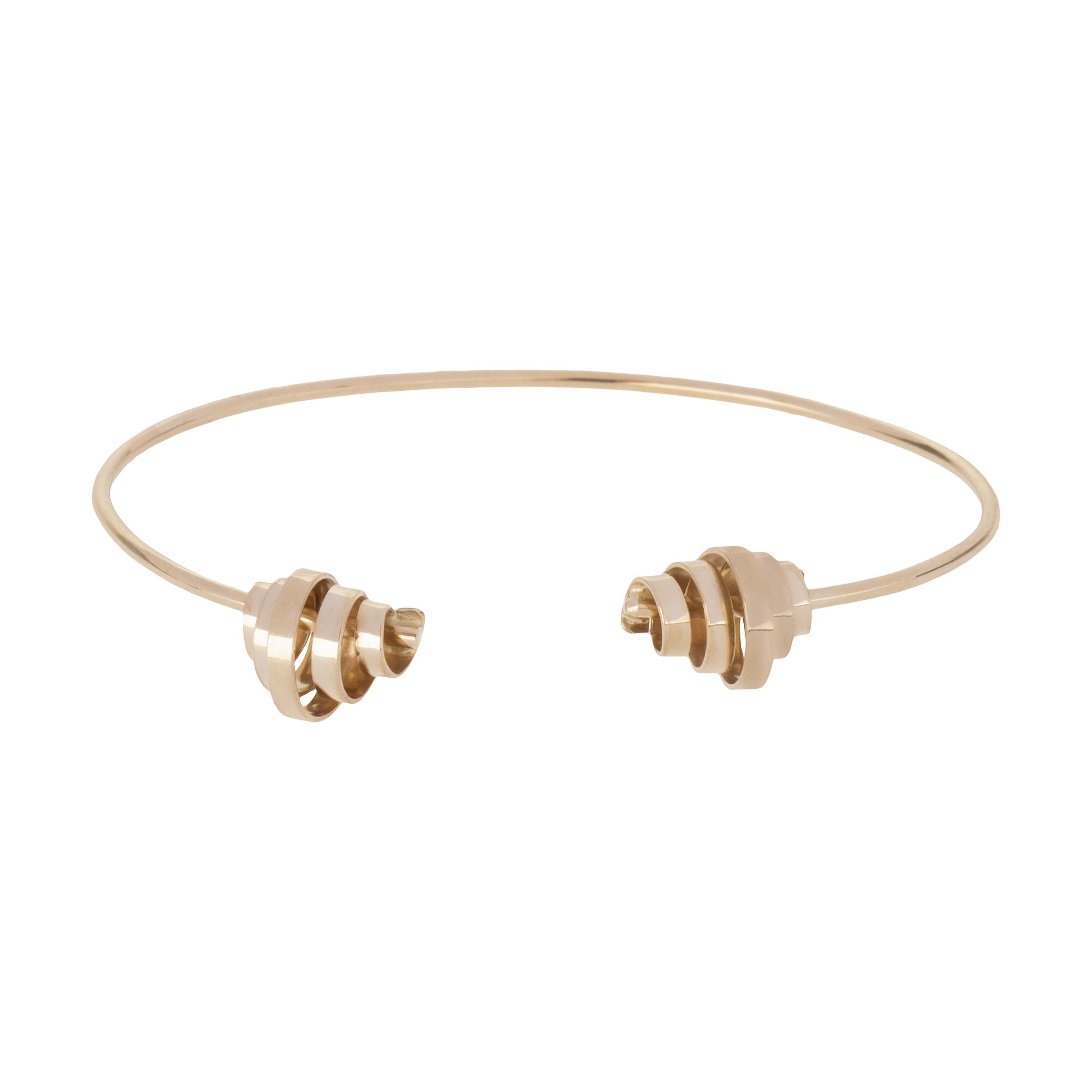 دستبند النگویی طلا 18 عیار زنانه سنجاق مدل X071474 -  - 2