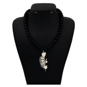 گردنبند نقره مردانه دلی جم طرح اسکلت و گل رز کد D 446