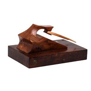 مجسمه چوبی  رنگ قهوه ای  طرح گاو شاخدار  مدل 1105900025