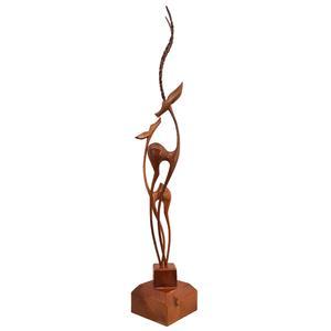 مجسمه چوبی طرح غزال های عاشق مدل M303