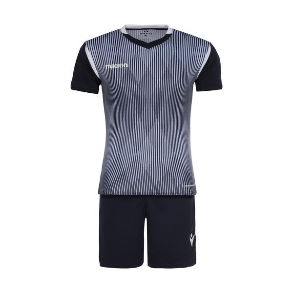 ست تی شرت و شلوارک ورزشی مردانه مکرون مدل فارست رنگ سرمه ای