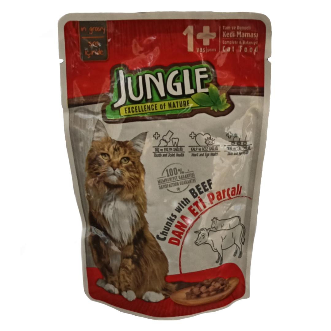 غذای خشک گربه جانگل مدل Beef_s وزن ۱۰۰ گرم
