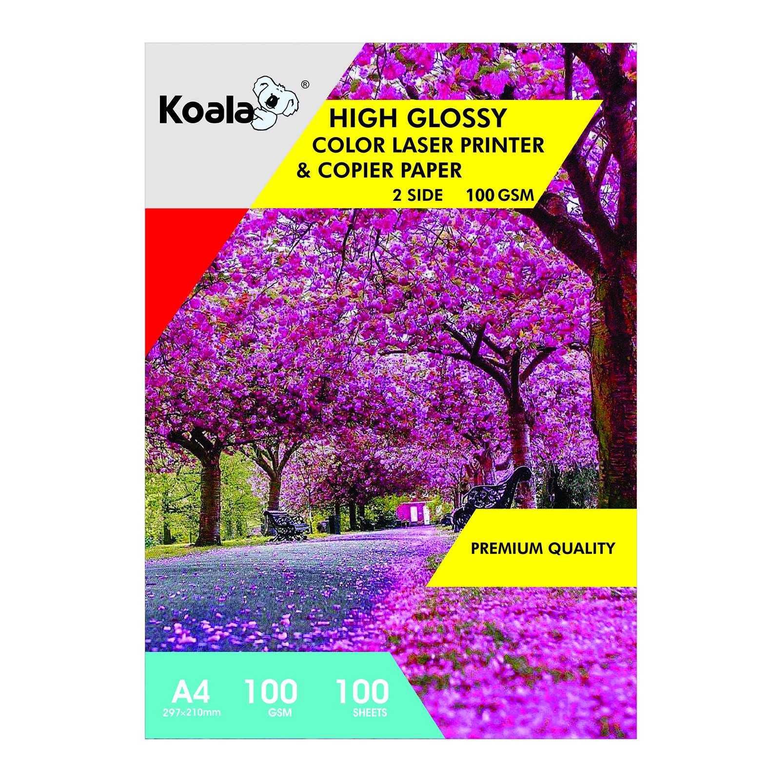 کاغذ چاپ گلاسه کوالا مدل K100 سایز A4 بسته 100 عددی