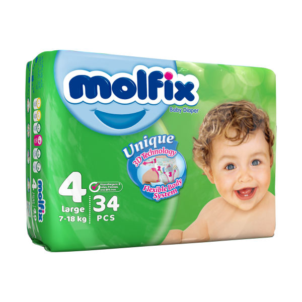 پوشک کودک مولفیکس سایز 4 بسته 34 عددی