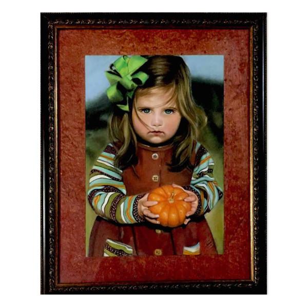 تابلو نقاشی پاستل طرح دخترک کدو بدست
