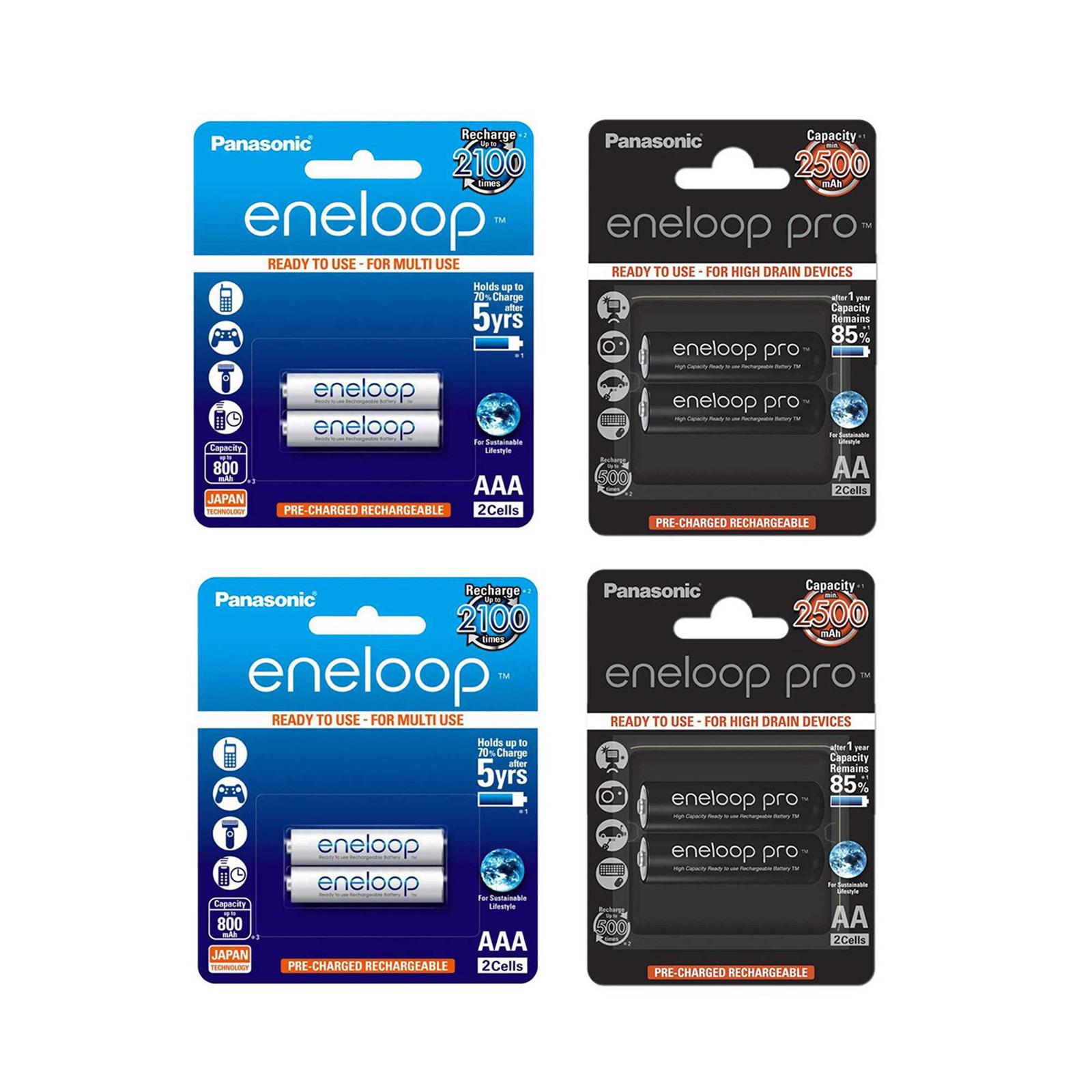 بررسی و {خرید با تخفیف} باتری قلمی و نیم قلمی قابل شارژ پاناسونیک مدل eneloop بسته 8 عددی اصل