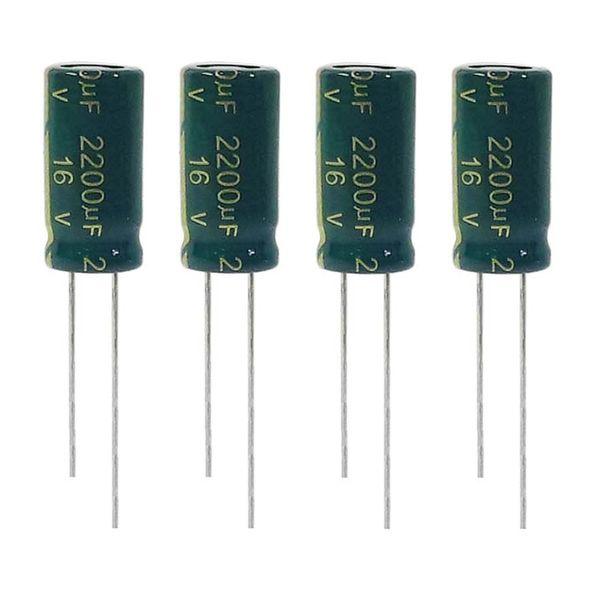 خازن الکترولیت 2200 میکروفاراد 16ولت ان جی ای مدل TEC-22216 بسته 4 عددی