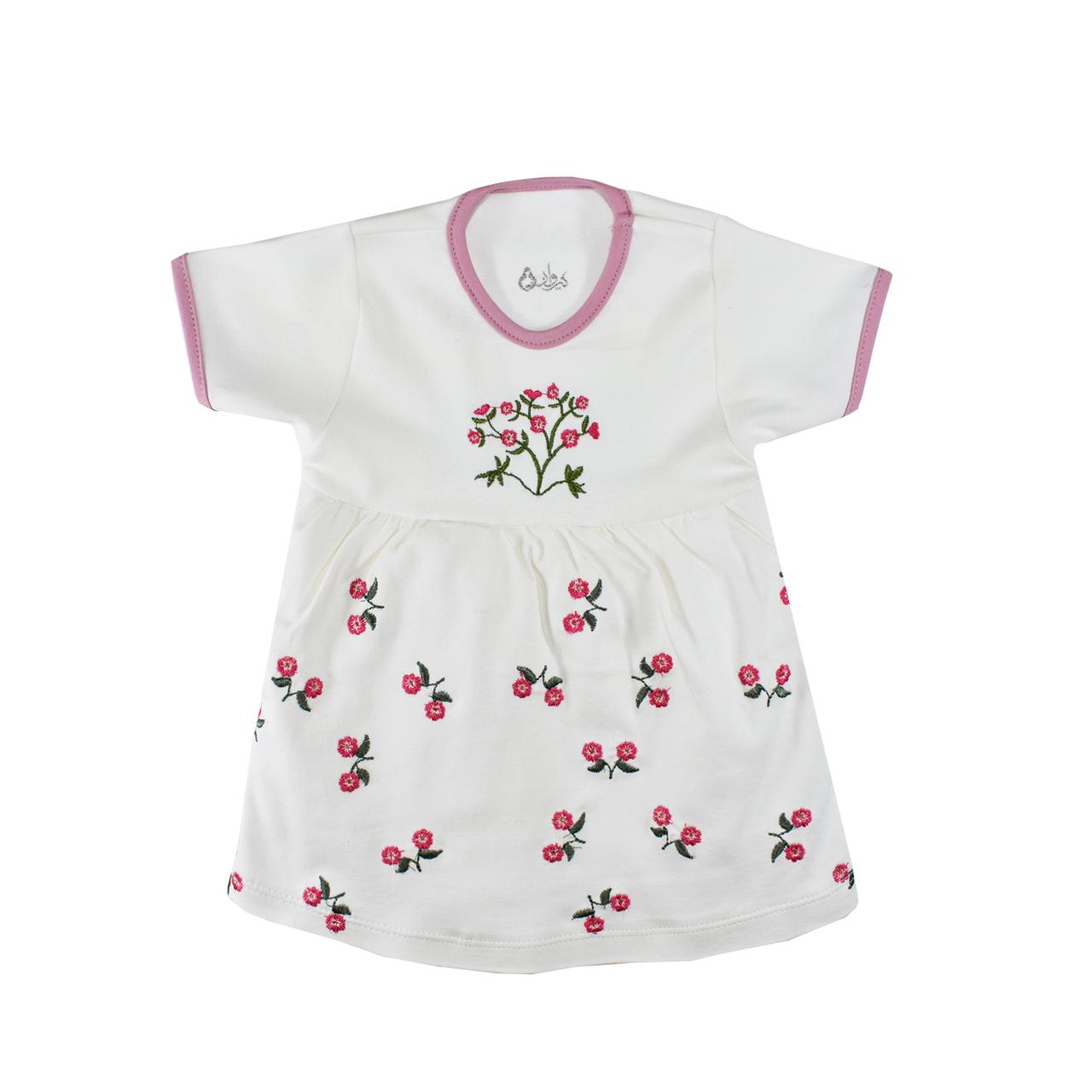 پیراهن نوزادی نیروان مدل گل برجسته